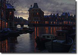 Image of painting titled Canal At Dusk by artist Alexei Butirskiy